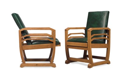 A PAIR OF FRENCH OAK AND LEATH