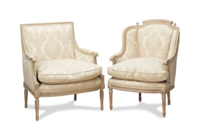 TWO LOUIS XV STYLE CREAM-PAINT
