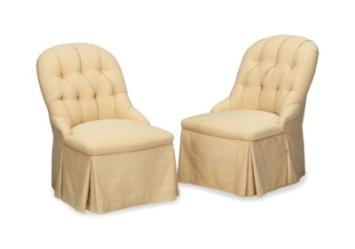A PAIR OF MODERN BUTTON-TUFTED