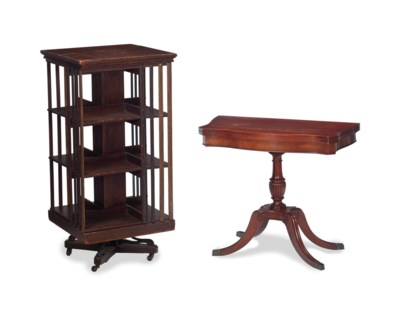 A MAHOGANY GAMES TABLE, AND AN
