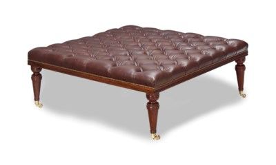 A MAHOGANY AND BUTTON-TUFTED L