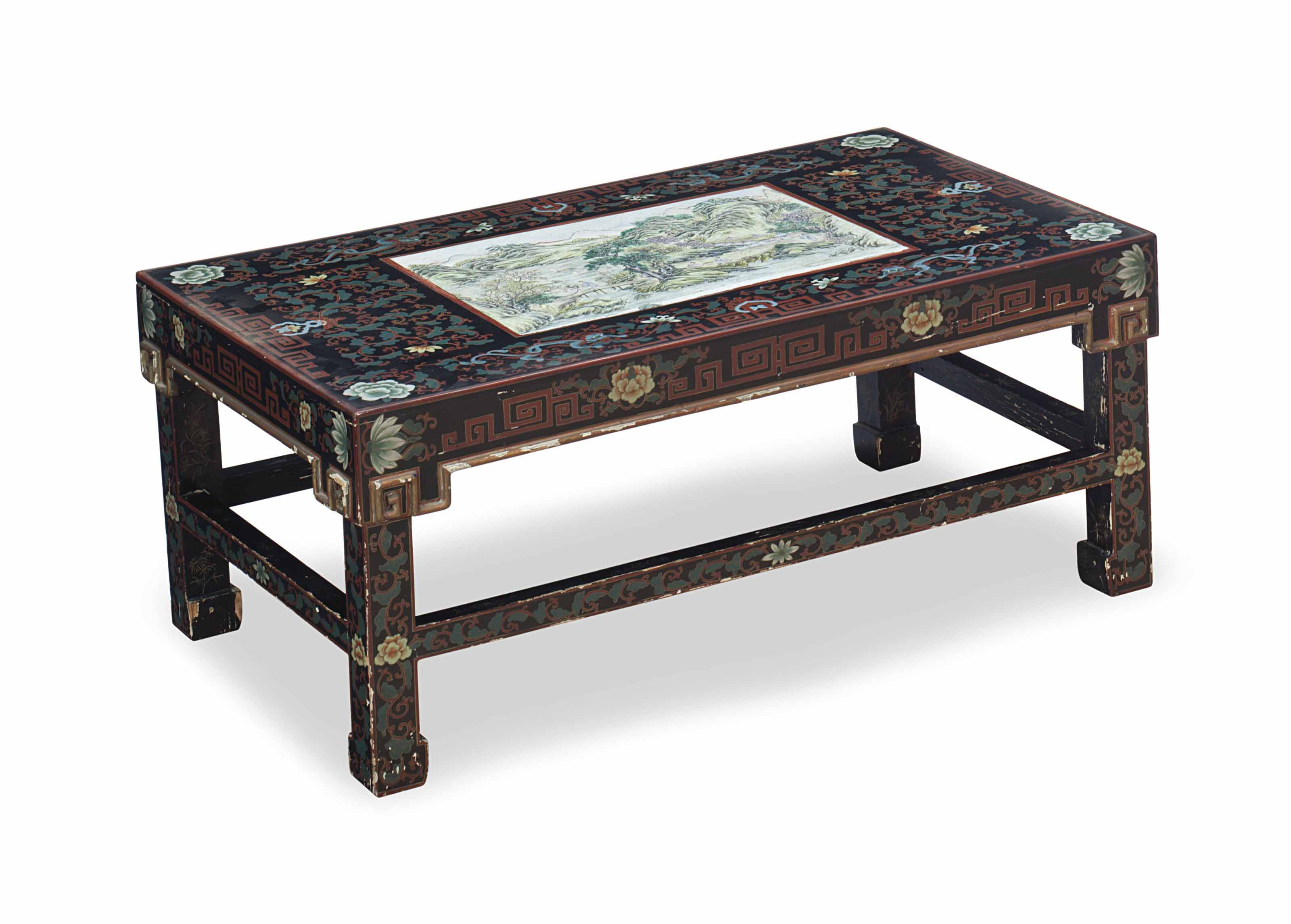 A Gilt Polychrome And Black Painted Glass Topped Low Table Inset With Chinese Famille Verte