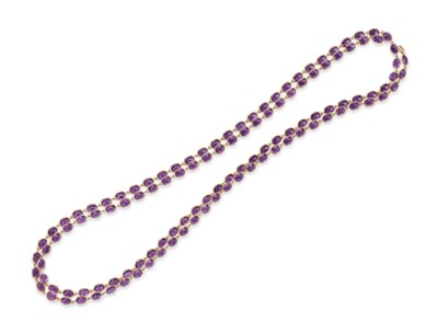 AN AMETHYST LONGCHAIN NECKLACE