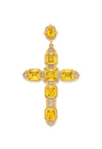 AN ANTIQUE CITRINE AND DIAMOND CROSS PENDANT, BY MELLERIO