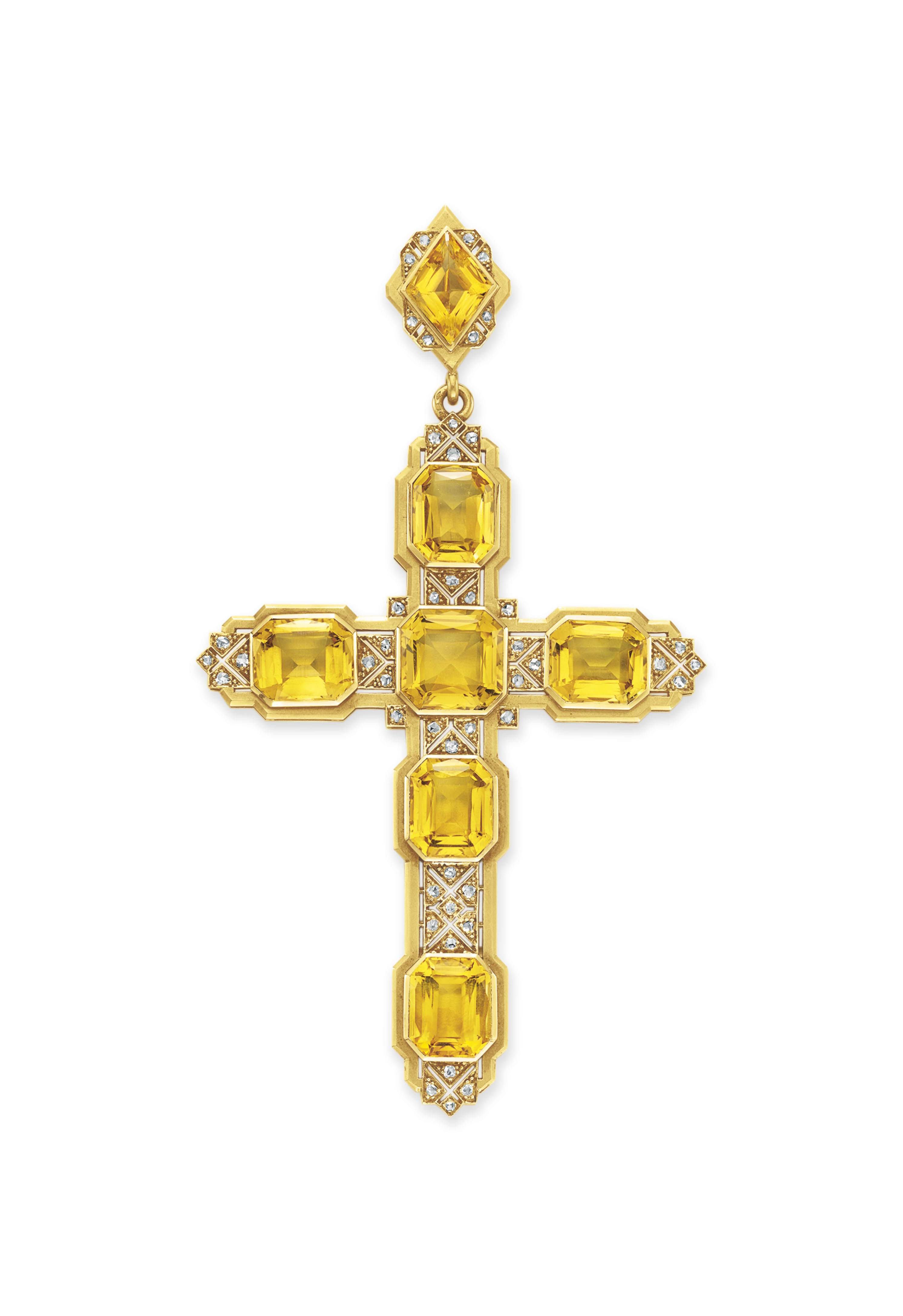 AN ANTIQUE CITRINE AND DIAMOND CROSS PENDANT, BY MELLERIO