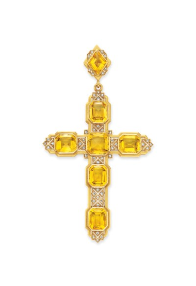 AN ANTIQUE CITRINE AND DIAMOND