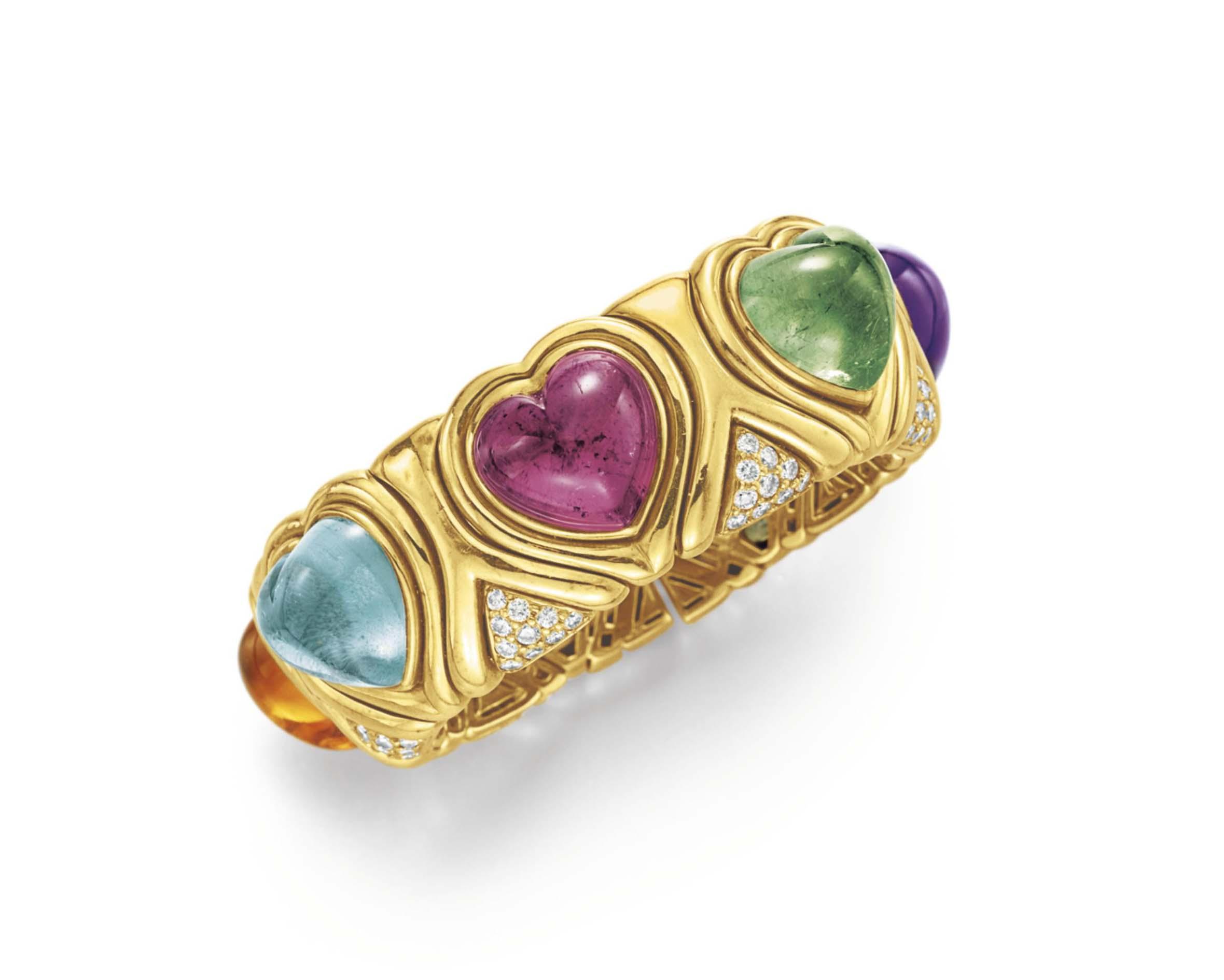 A Diamond Multi Gem And Gold Cuff Bracelet By Bvlgari