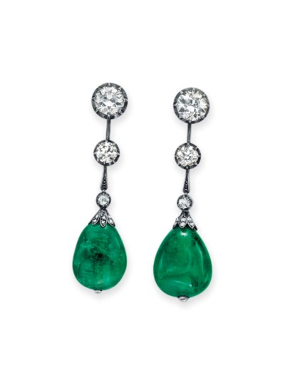A PAIR OF EMERALD BEAD AND DIA
