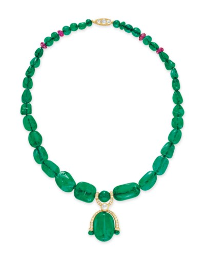 AN EMERALD BEAD, DIAMOND AND R