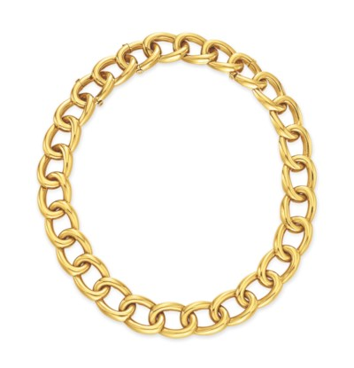 A GOLD LINK NECKLACE, BY DAVID