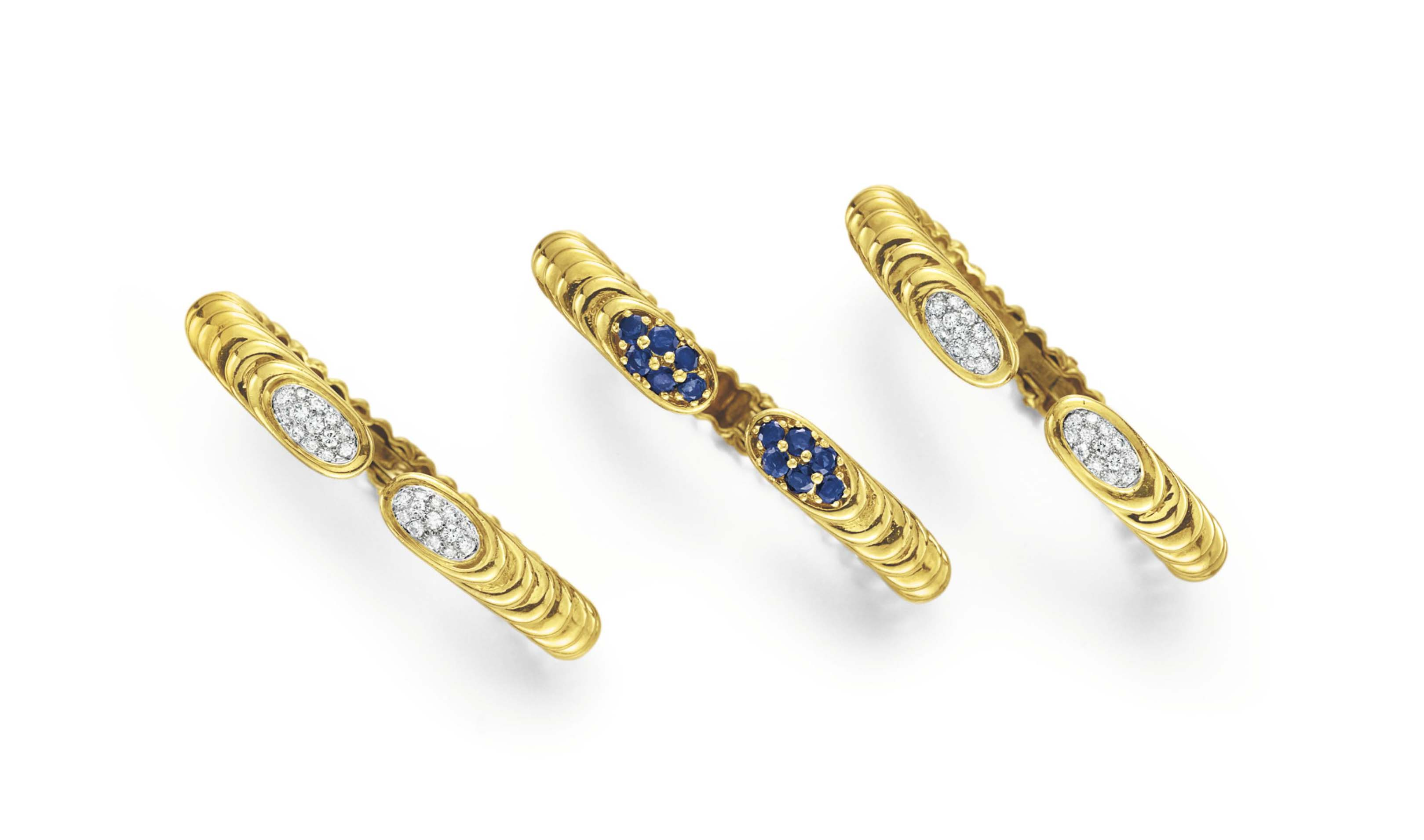 THREE DIAMOND, SAPPHIRE AND GOLD CUFF BRACELETS, BY WANDER