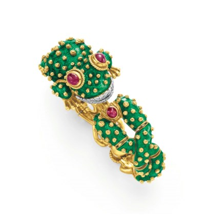 A DIAMOND, RUBY AND ENAMEL FRO