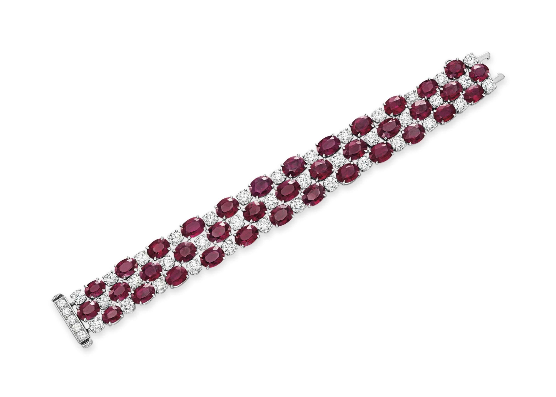 A RUBY AND DIAMOND BRACELET, BY CHOPARD