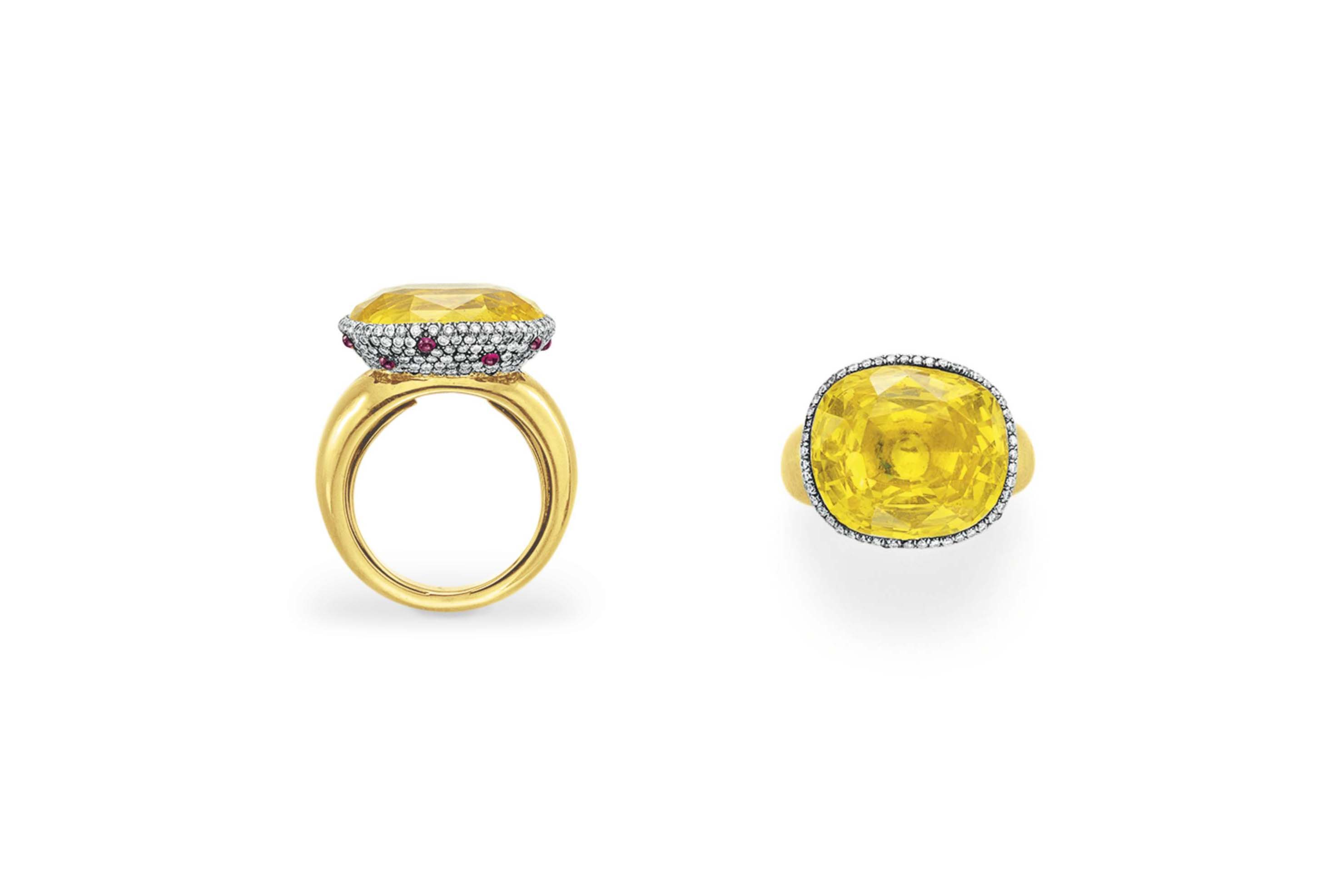 A YELLOW SAPPHIRE, DIAMOND AND RUBY RING, BY TAFFIN