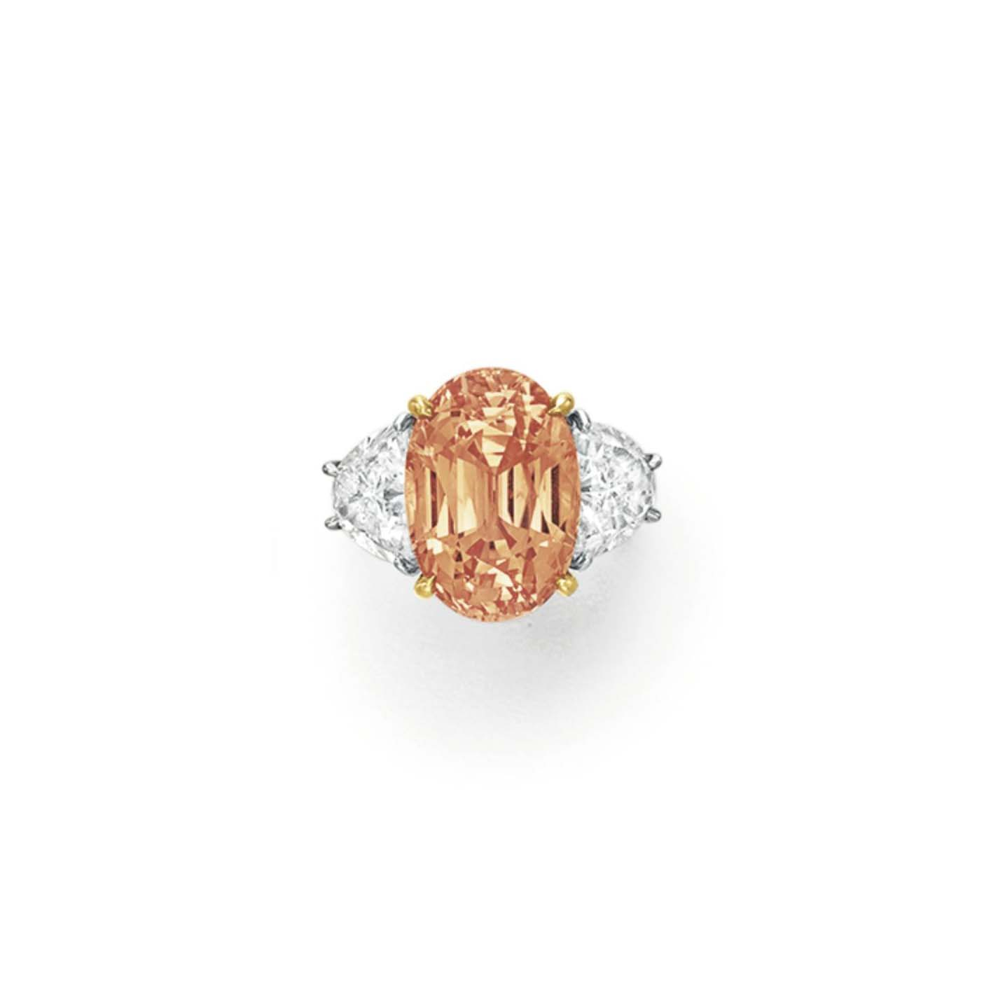 gold natural design white diamond engagement pink la ring products size in pad by padparadscha more sapphire cluster