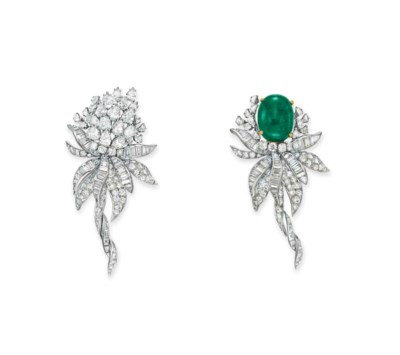 A DIAMOND AND EMERALD FLOWER B