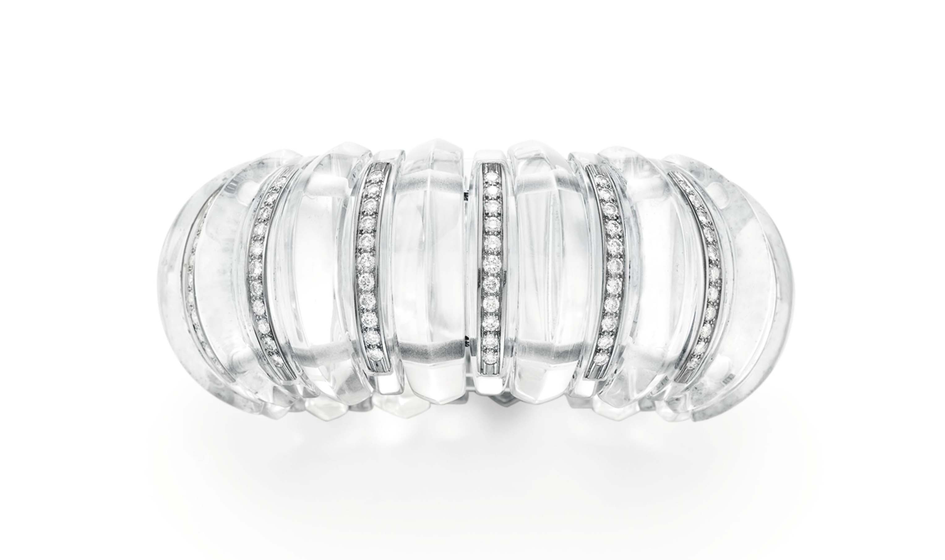 A ROCK CRYSTAL AND DIAMOND BRACELET, BY DEMNER
