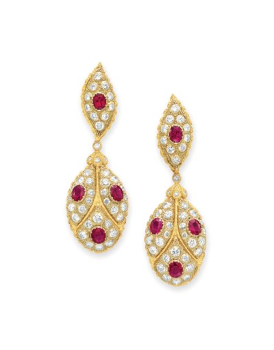 A PAIR OF DIAMOND, RUBY AND GO