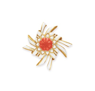 ~A CORAL, DIAMOND AND ENAMEL B
