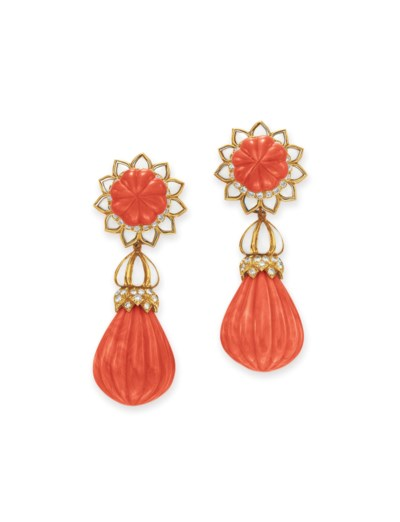~A PAIR OF DIAMOND, CORAL AND