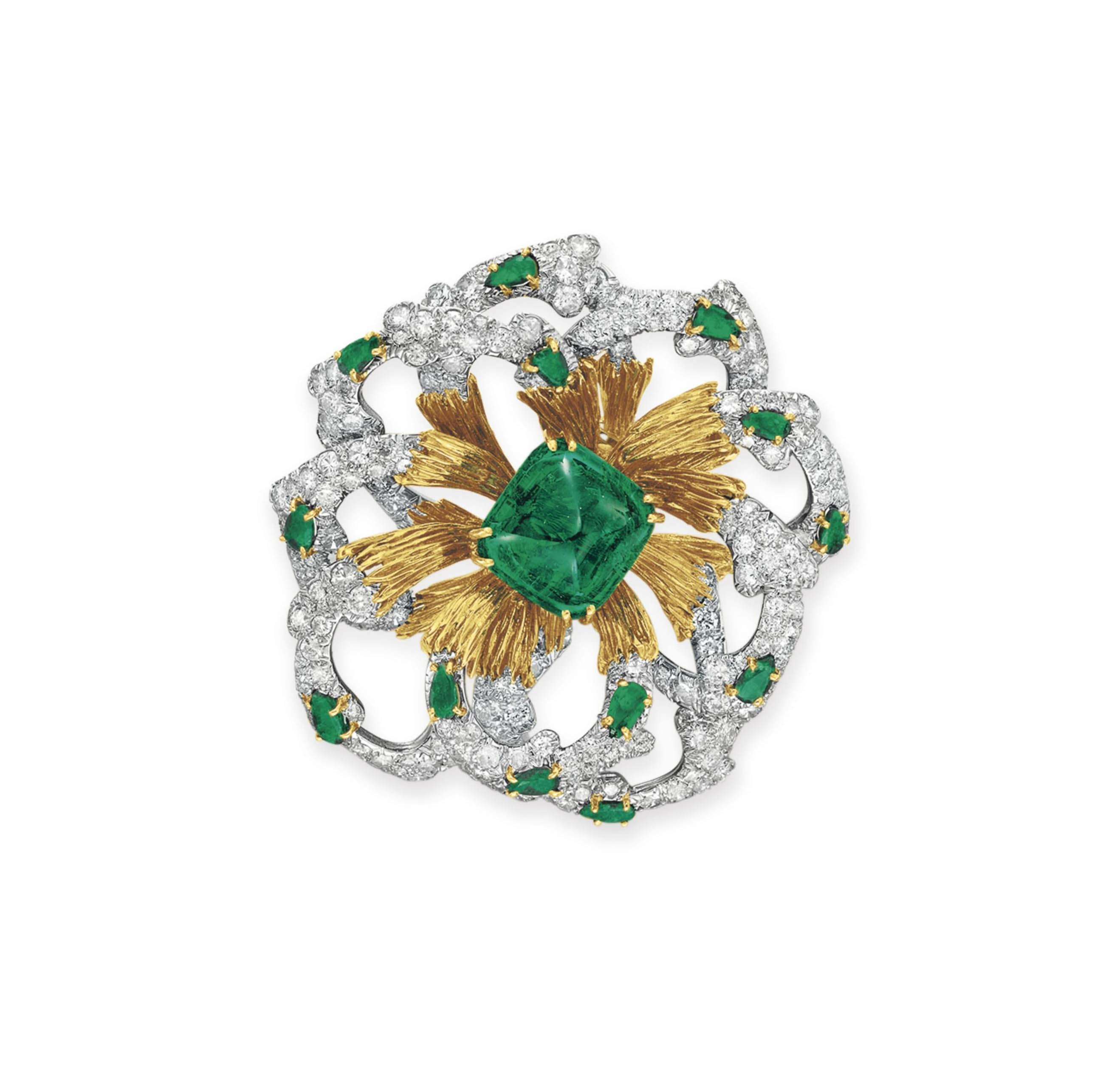 AN EMERALD, DIAMOND AND GOLD BROOCH, BY DAVID WEBB