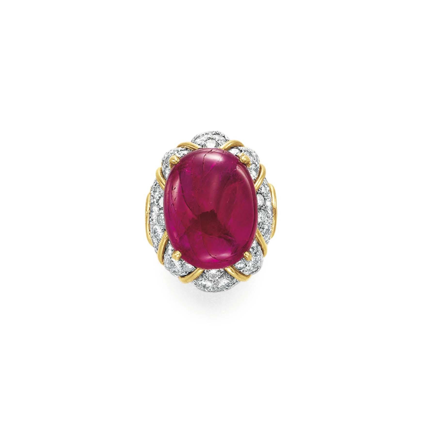 A RUBY AND DIAMOND RING, BY DAVID WEBB