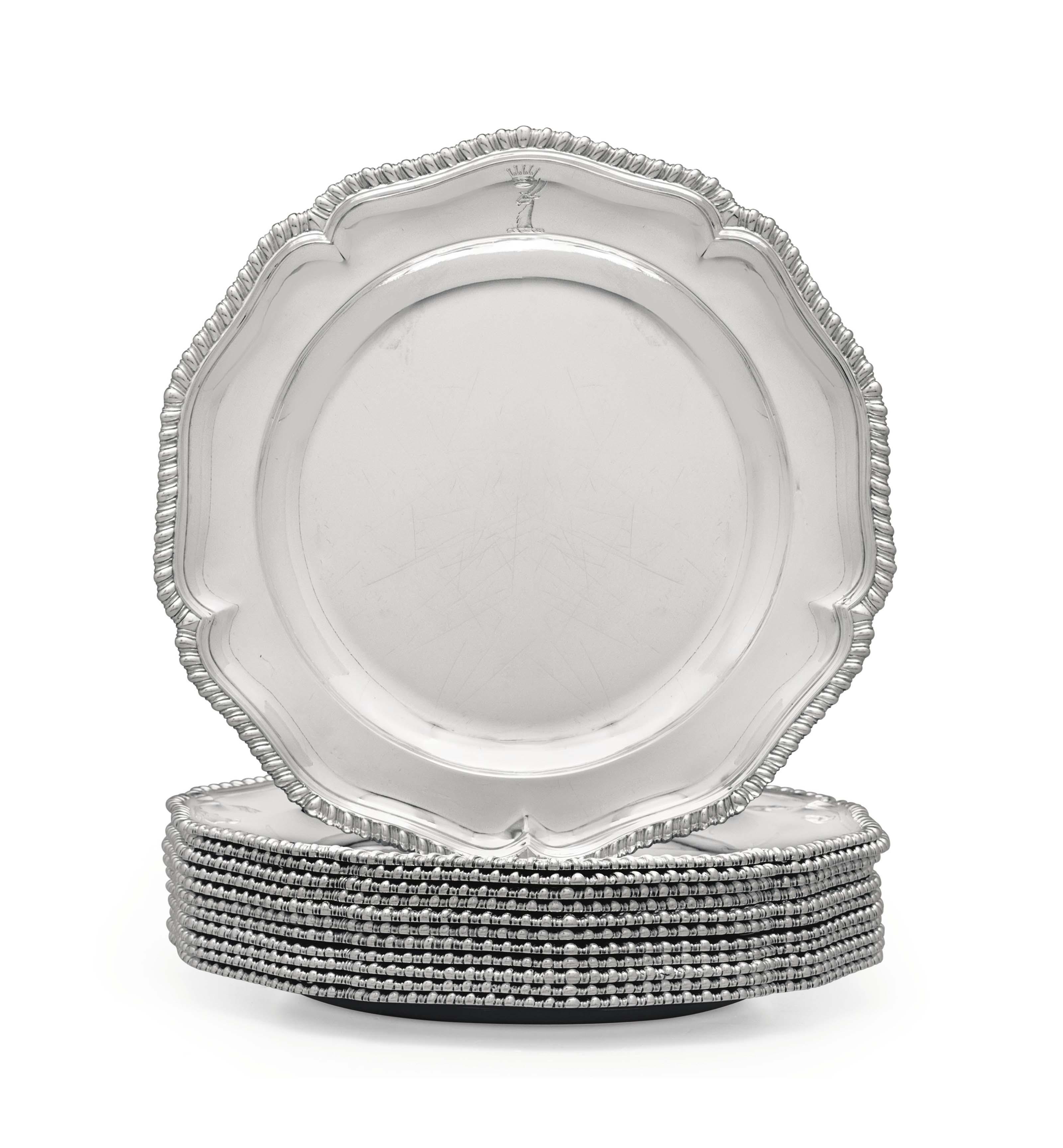 A SET OF TWELVE GEORGE III SILVER DINNER PLATES