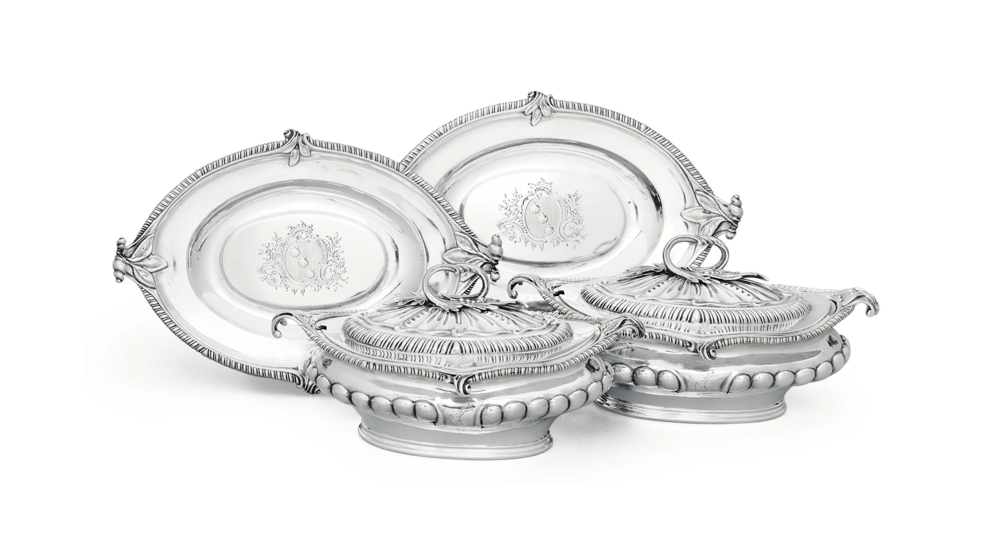 A PAIR OF GEORGE III SILVER SAUCE TUREENS AND STANDS