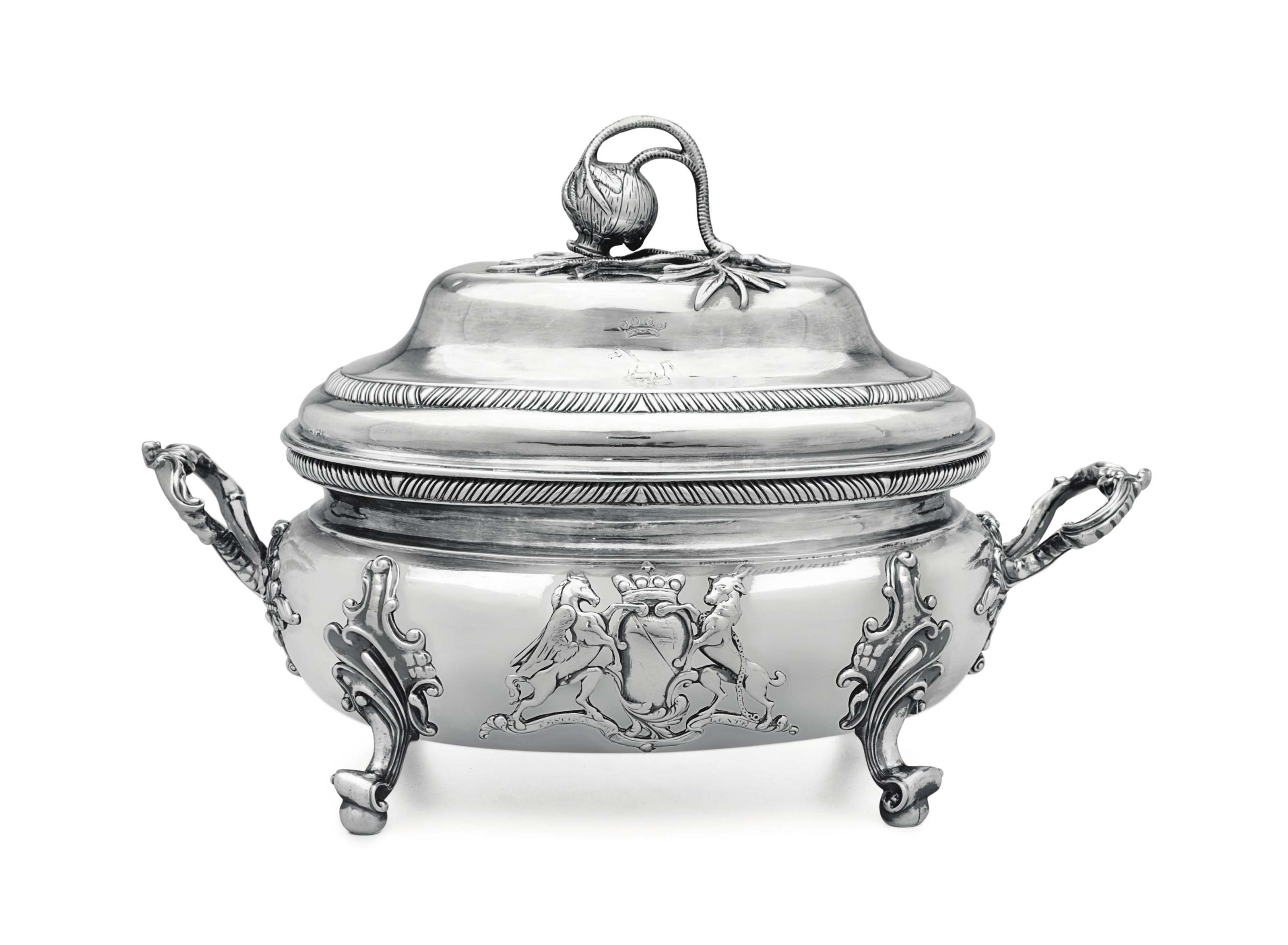 A GEORGE III IRISH SILVER SOUP TUREEN