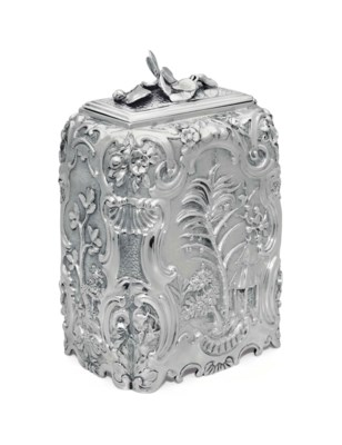 A GEORGE II SILVER SUGAR BOX