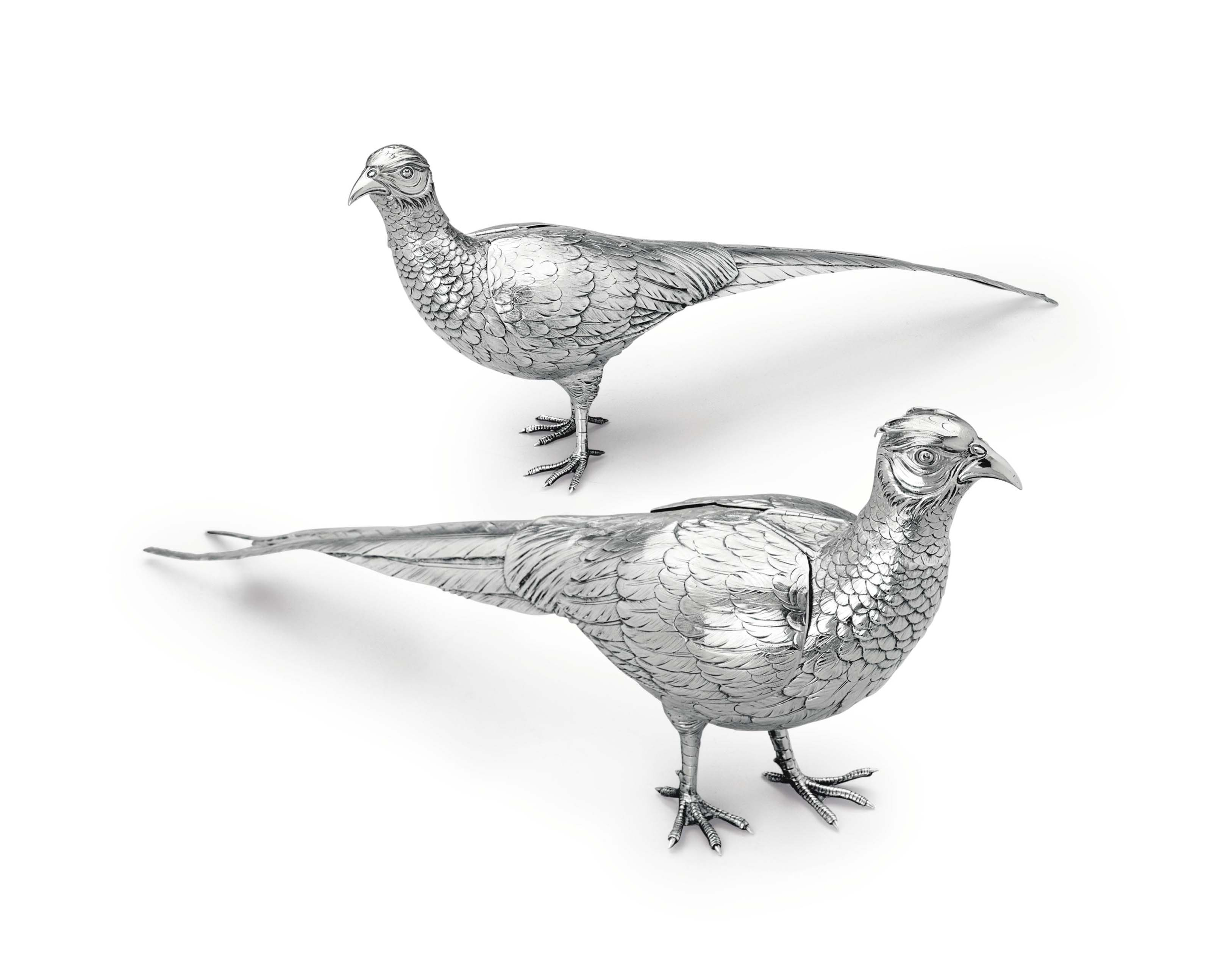 A PAIR OF CONTINENTAL SILVER TABLE PHEASANTS