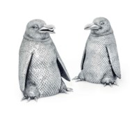 A PAIR OF ITALIAN SILVER PENGUIN-FORM MAGNUM WINE COOLERS