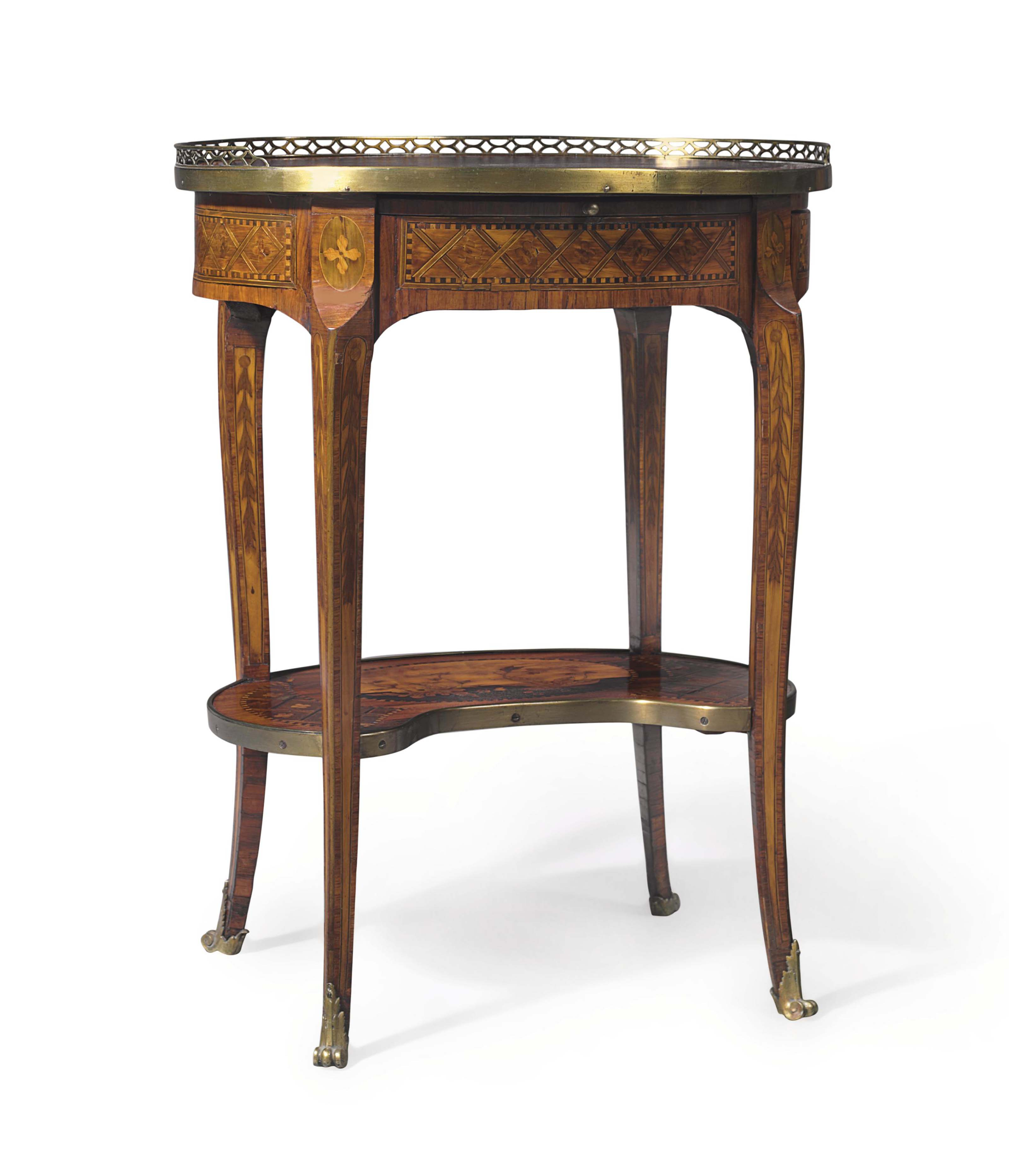 A LATE LOUIS XVI ORMOLU-MOUNTED TULIPWOOD, PARQUETRY AND MARQUETRY OCCASIONAL TABLE