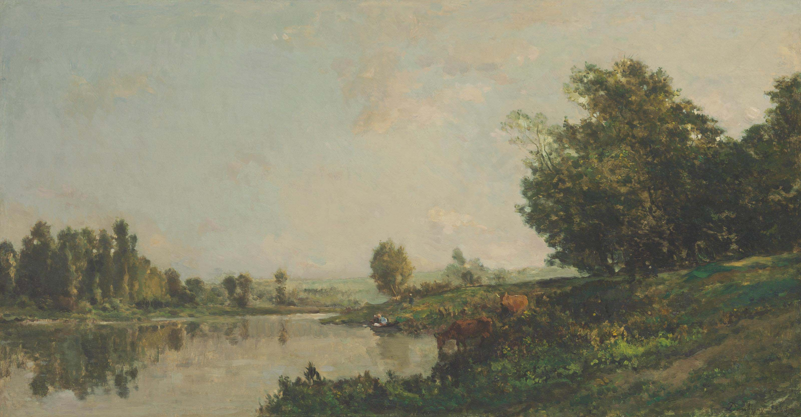 Au bords de l'Oise, lavandières et vaches