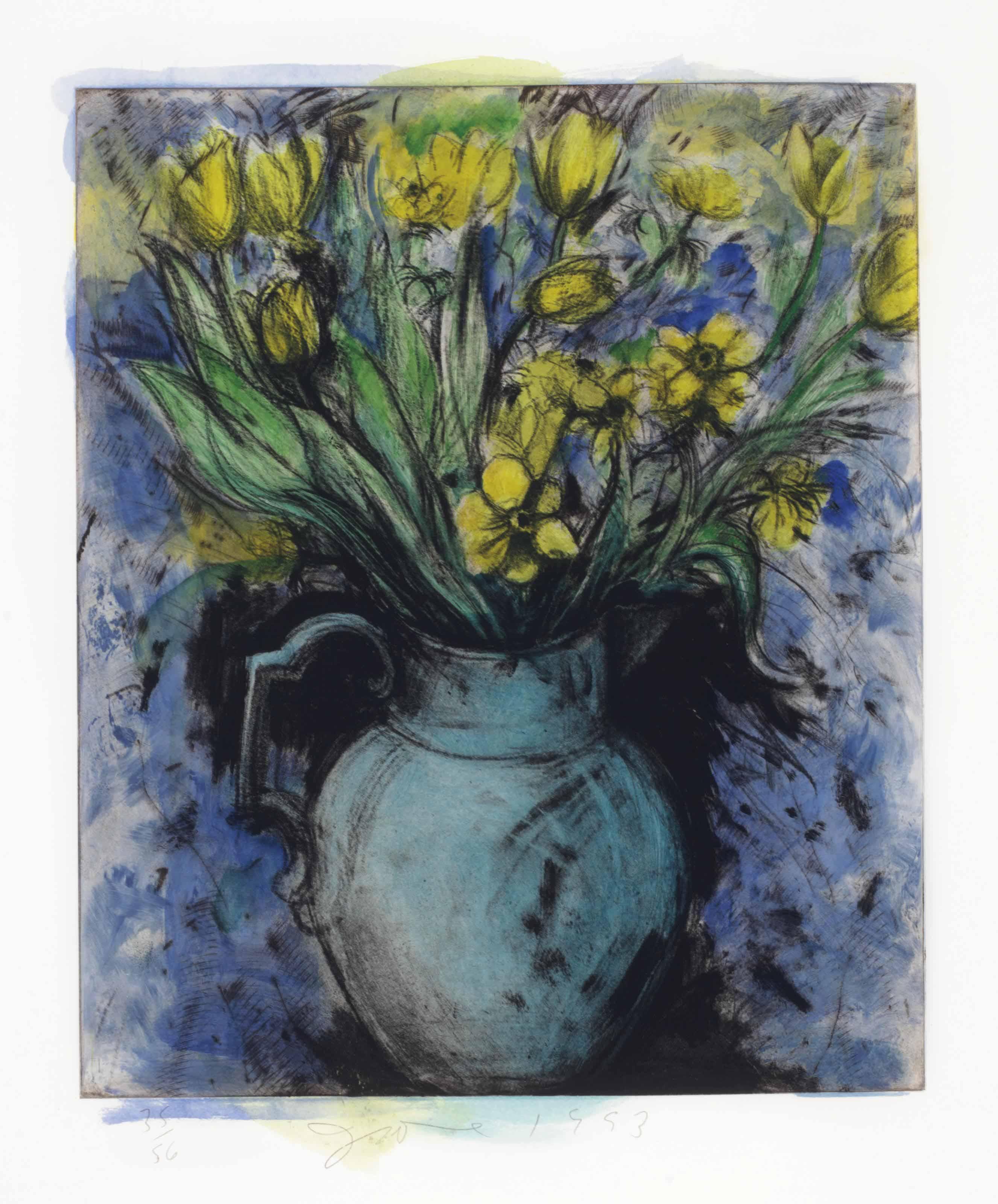 Jim Dine B 1935 Blue Vase Yellow Flowers 20th Century