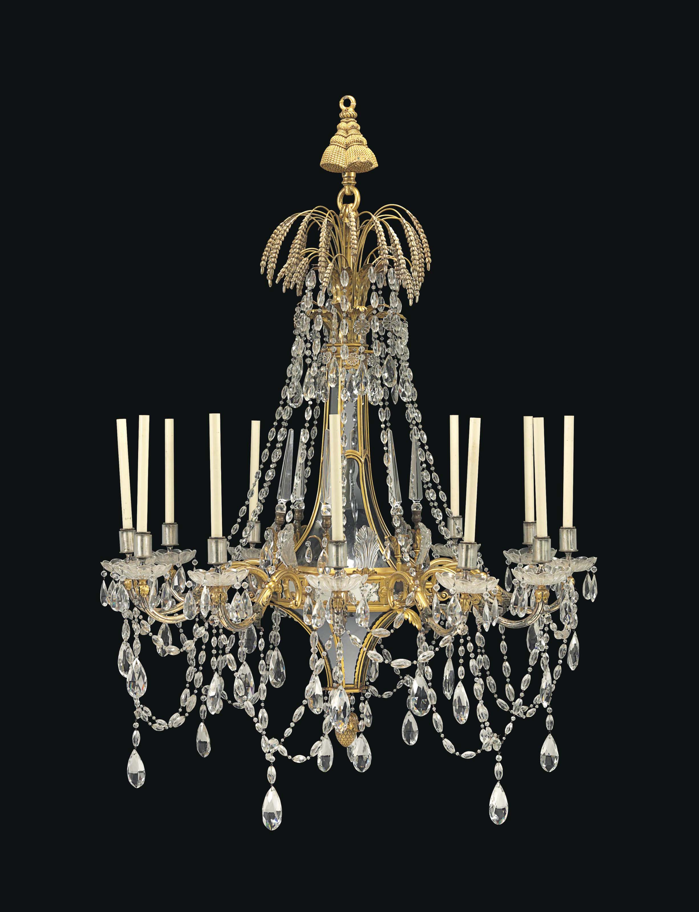 A LARGE AMERICAN GILT-BRONZE, MIRRORED AND CUT-GLASS TWELVE-LIGHT CHANDELIER
