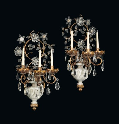 A PAIR OF GILT-METAL, WHITE MA