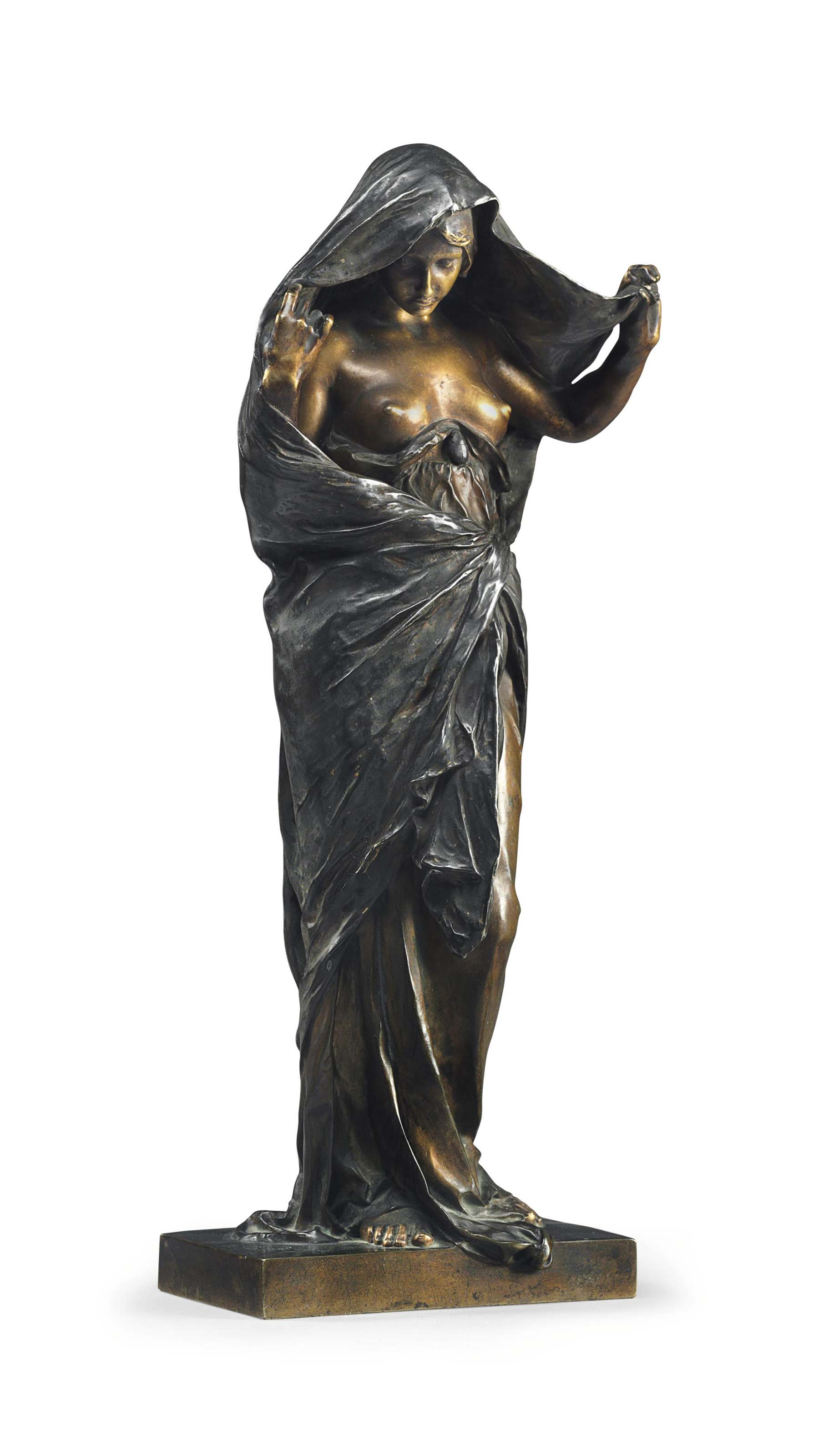 A FRENCH PATINATED AND SILVERED-BRONZE FIGURE, TITLED 'LA NATURE SE DEVOILANT DEVANT LA SCIENCE' (NATURE REVEALING HERSELF BEFORE SCIENCE)
