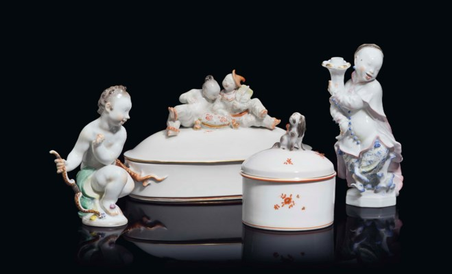 FOUR MEISSEN PORCELAIN OBJECTS
