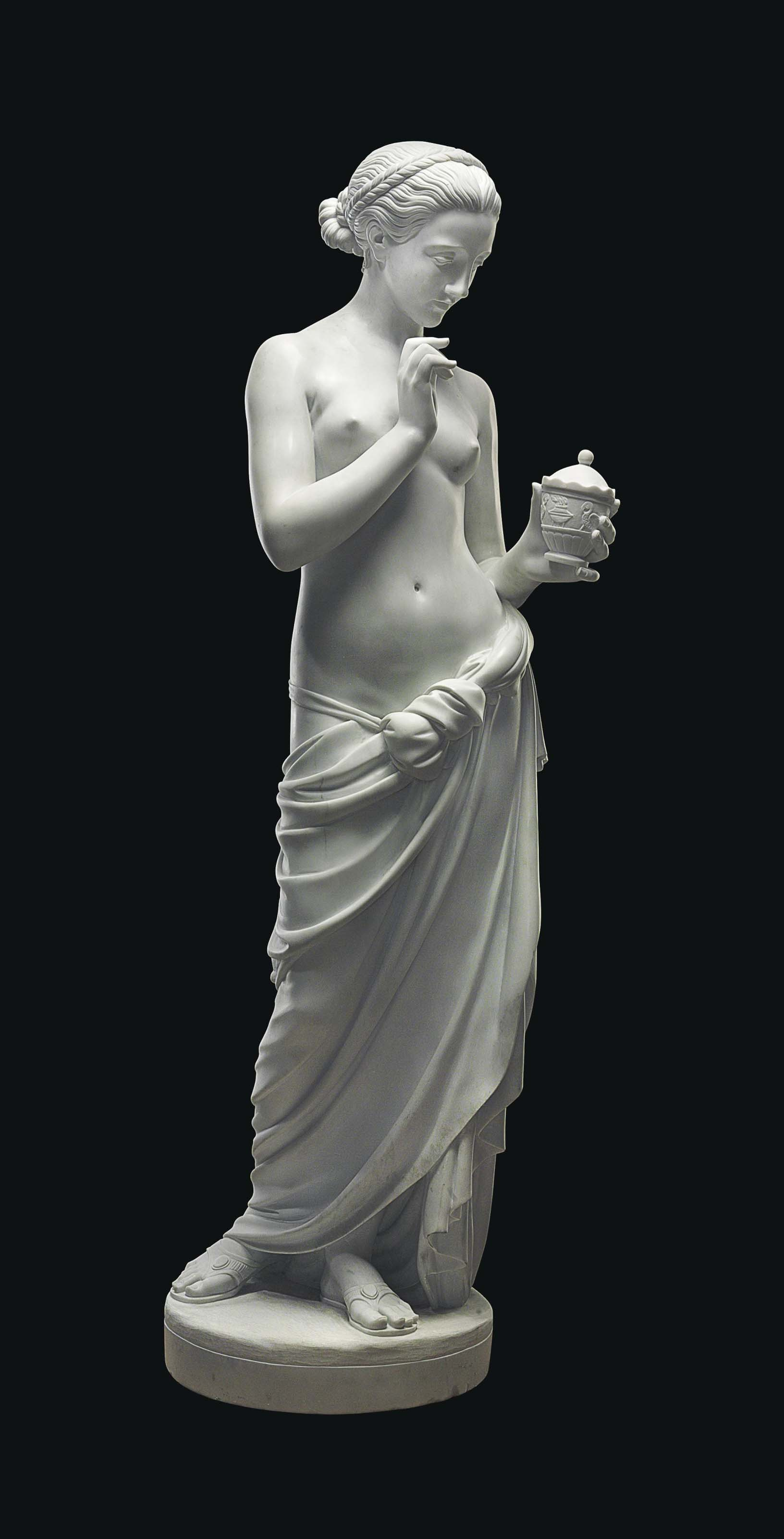 A LIFE-SIZE WHITE MARBLE FIGUR