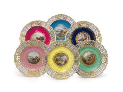 A SET OF SIX MEISSEN PORCELAIN