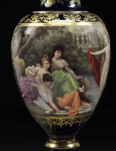 A VIENNA STYLE PORCELAIN COBAL