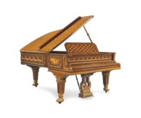 AN ORMOLU-MOUNTED MAHOGANY, AMARANTH, SYCAMORE, MARQUETRY AND PARQUETRY GRAND PIANO