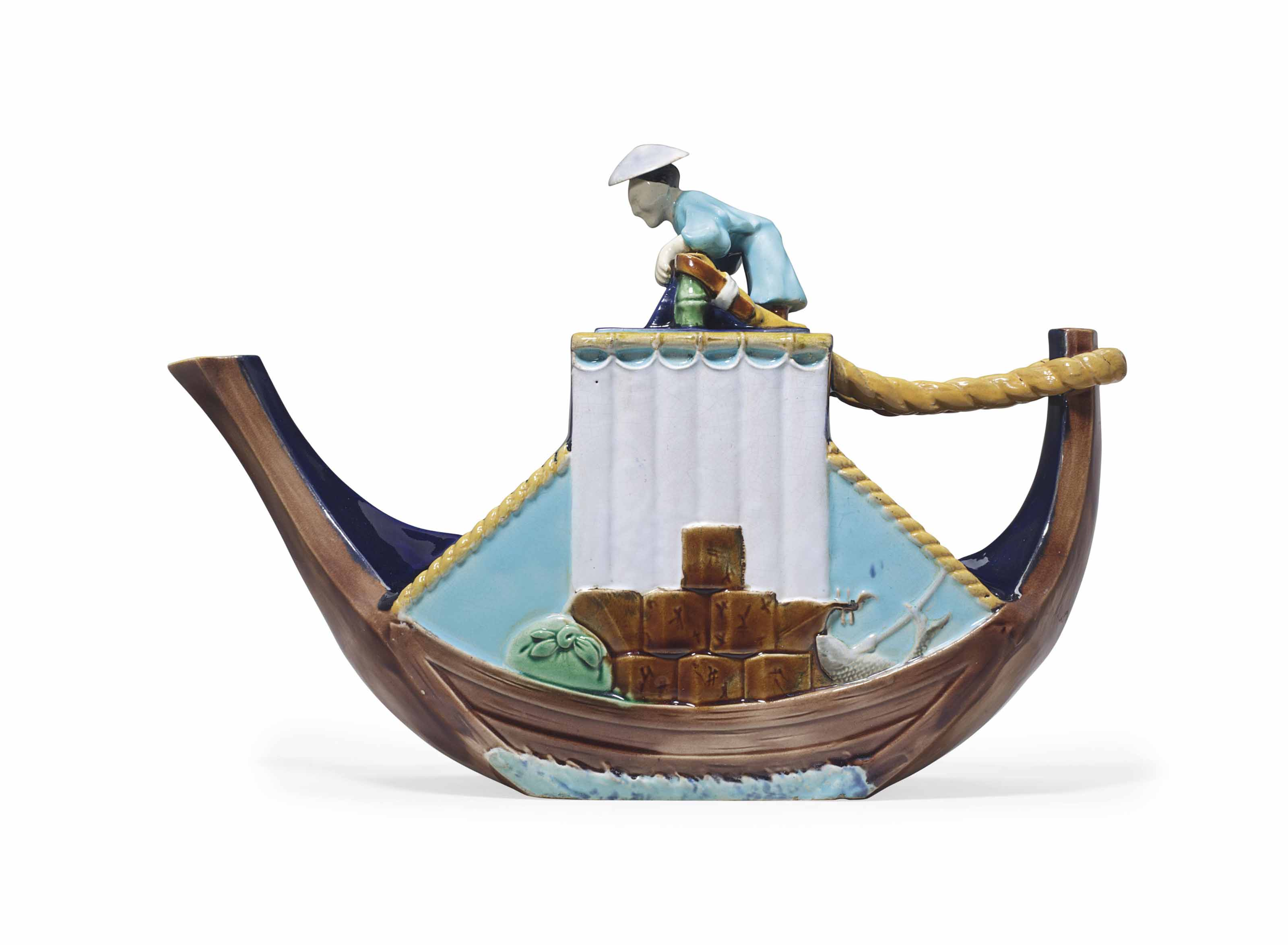 A GEORGE JONES MAJOLICA 'CHINESE JUNK' TEAPOT AND COVER