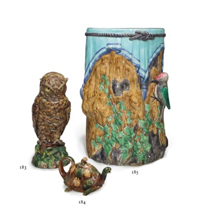 AN ENGLISH MAJOLICA WOODPECKER