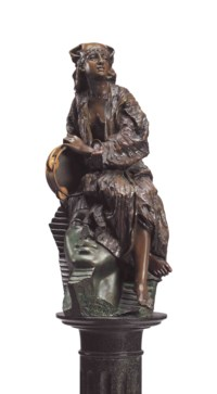 A FRENCH PATINATED BRONZE FIGURE OF AIDA, ON PEDESTAL