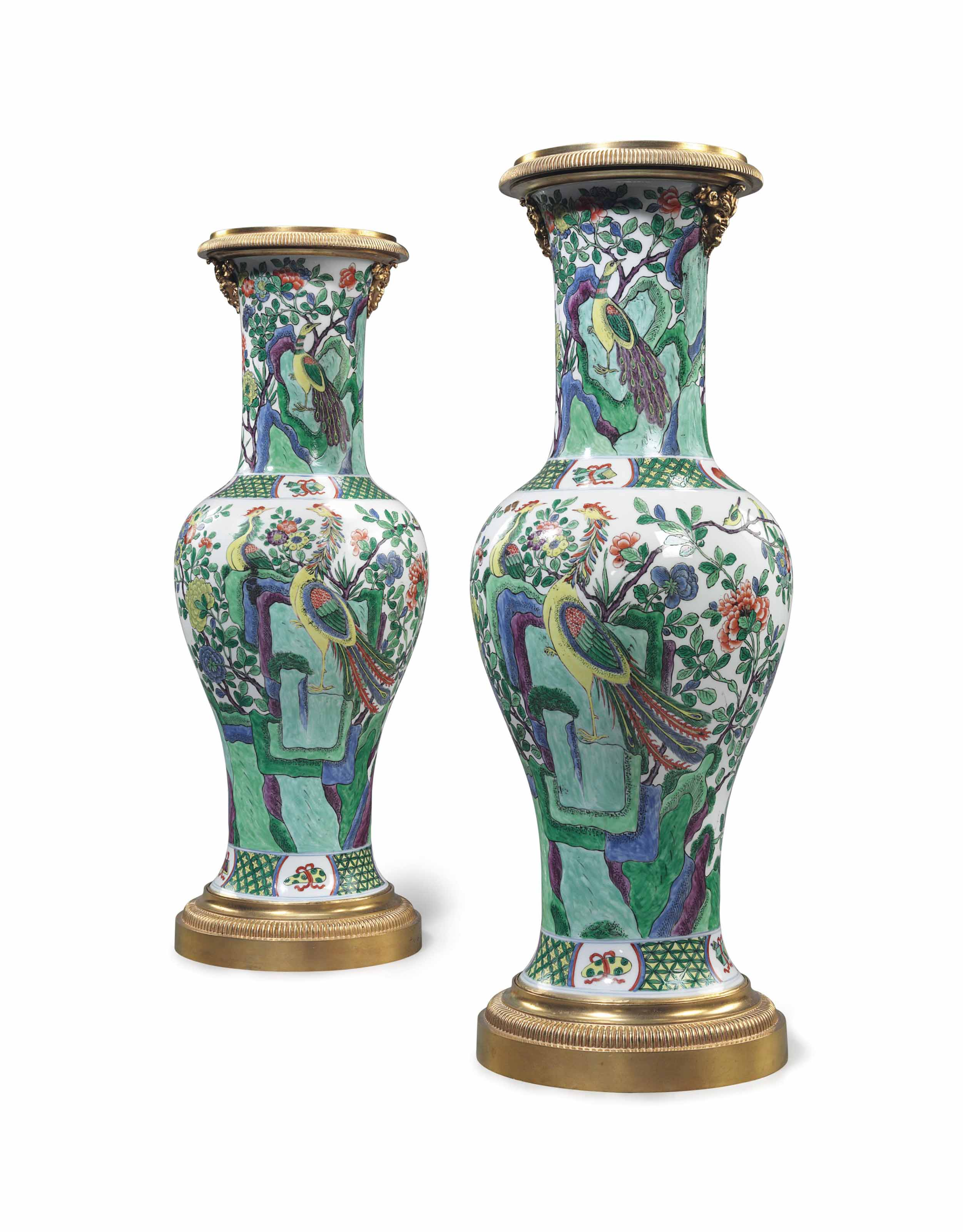 A LARGE PAIR OF ORMOLU-MOUNTED SAMSON PORCELAIN VASES