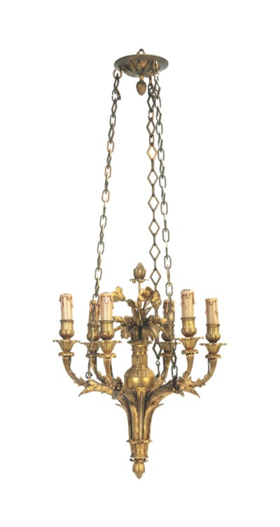 A FRENCH ORMOLU SIX-LIGHT CHAN