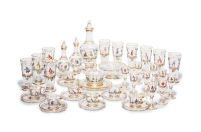 A LOBMEYR GLASS ENAMELED PART