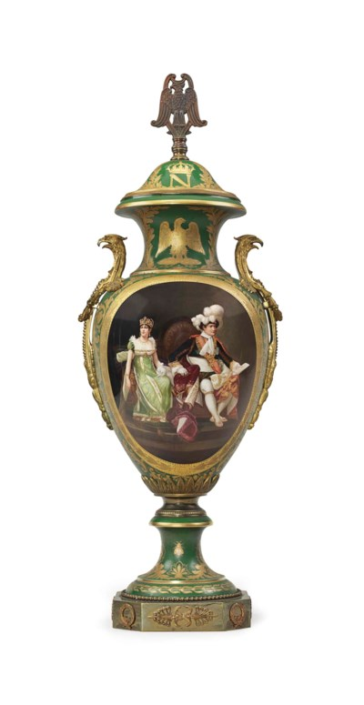 A SEVRES STYLE PORCELAIN GREEN